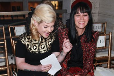 Kelly Osbourne and Leigh Lezark at the Zac Posen Spring 2012 fashion show during Mercedes-Benz Fashion Week in New York.