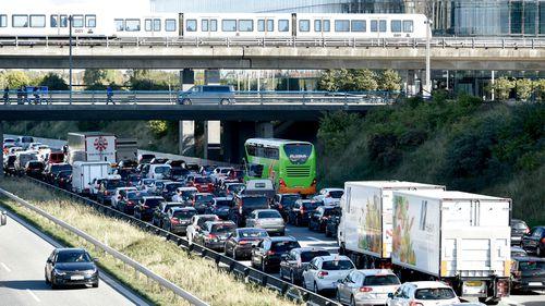 A traffic jam is seen after police closed the Oresund Bridge near Copenhagen.