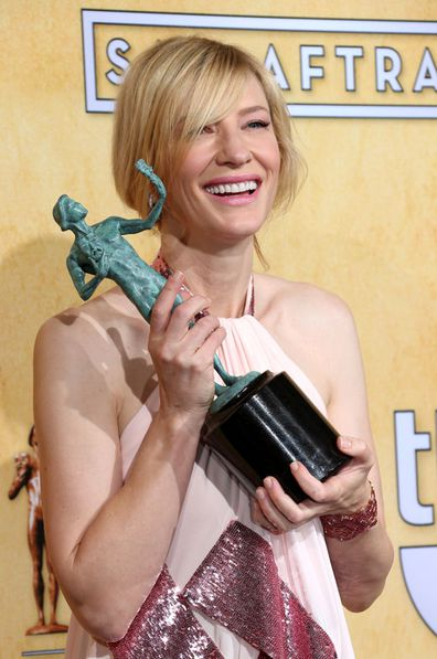 Actress Cate Blanchett poses in the press room with the award for Outstanding Performance by a Female Actor in a Leading Role for 'Blue Jasmine' at the 20th Annual Screen Actors Guild Awards at the Shrine Auditorium on January 18, 2014 in Los Angeles, California