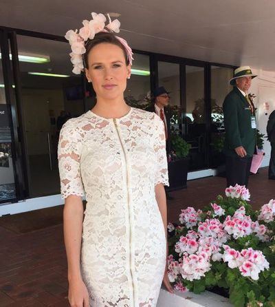 Racing royalty Francesca Cumani in Yeojin Bae and Anne Shoebridge headpiece.