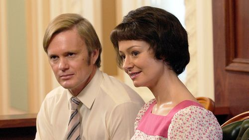 """Actors Craig McLachlan and Miranda Otto played  Lindy and Michael Chamberlain in Australian mini-series """"Through My Eyes"""". (AAP)"""