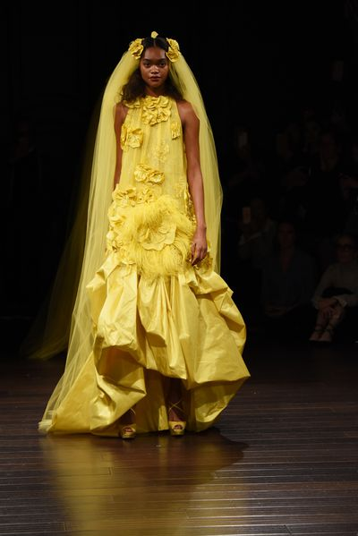 <p>Like a sunflower&nbsp;</p> <p>Naheem Khan, New York Bridal Fashion Week</p>