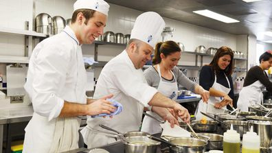 Student chefs training at the London outpost of Le Cordon Bleu.