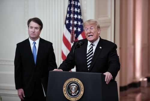 US President Donald Trump and his Supreme Court pick Brett Kavanaugh.