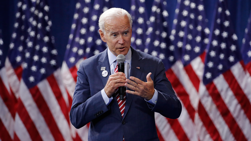 "Donald Trump said he hadn't directly asked Chinese President Xi Jinping to investigate Joe Biden (pictured) and his son Hunter but said it's ""certainly something we could start thinking about."""