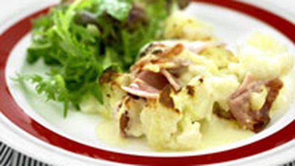 Cauliflower and ham bake