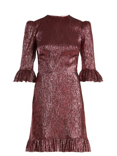 """Vampire's Wife festival dress, $2262 at <a href=""""https://www.matchesfashion.com/au/products/The-Vampire%27s-Wife-Festival-ruffle-trimmed-silk-blend-lam%C3%A9-dress--1181362"""" target=""""_blank"""">Matchesfashion.com</a>"""
