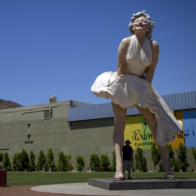 A 26 foot tall statue of Marilyn Monroe stands near the old  Desert Fashion Plaza which is being demolished to make room for a new hotel and retail development off North Palm Canyon Drive on May 22, 2013 in Palm Springs, California.