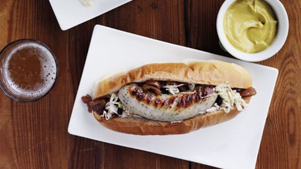 Weisswurst with beer-braised onion and soused cabbage