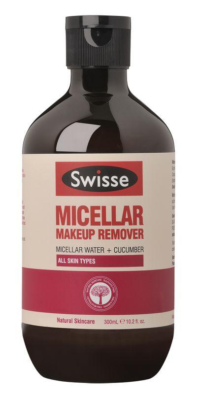"<a href=""https://www.swisse.com/en-au/products/skincare/face/swisse-micellar-make-up-remover"" target=""_blank"">Swisse Micellar Makeup Remover, $6.99.</a>"