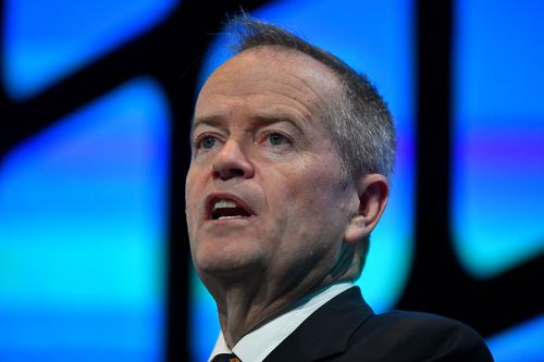Leader of the Opposition Bill Shorten speaks at the Australian Financial Review Business Summit in Sydney, Wednesday, March 6, 2019. (AAP Image/Mick Tsikas)