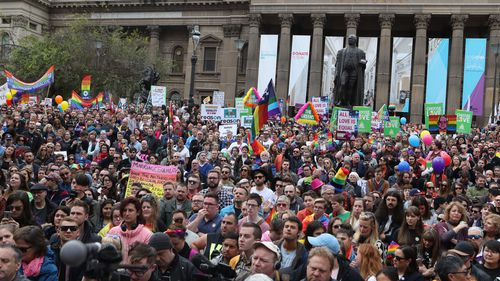 Earlier this year, a same-sex marriage rally overtook Melbourne's CBD.