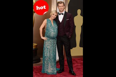 And the award for the hottest couple on the red carpet goes to Chris and Elsa. Cuties!