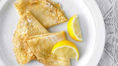 """Recipe:&nbsp;<a href=""""http://kitchen.nine.com.au/2016/05/16/13/26/french-crepes-with-lemon-and-sugar"""" target=""""_top"""">French crepes with lemon and sugar</a>"""