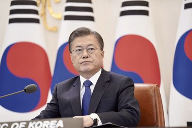 South Korean President Moon Jae-in attends ASEAN Plus Three virtual summit in Seoul on April 14.