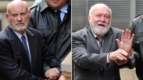 A composite image of former NSW State Labor Minister Ian MacDonald (left) and former union boss John Maitland being lead to a prison van at the Supreme Court in Sydney, Friday, June 2, 2017.
