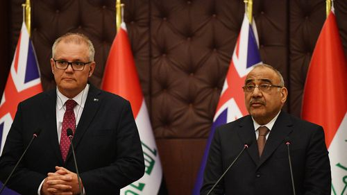 Australian Prime Minister Scott Morrison with the Iraqi Prime Minister Adil Abdul-Mahdi during bilateral meetings at the Prime Minister's Palace in Baghdad, Iraq.