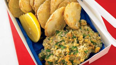 "Recipe: <a href=""http://kitchen.nine.com.au/2016/05/13/11/48/fish-and-potato-scallops"" target=""_top"">Fish and potato scallops</a>"