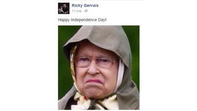 Ricky Gervais celebrated the Fourth of July in the best way he knows how, by making people laugh. (Facebook)