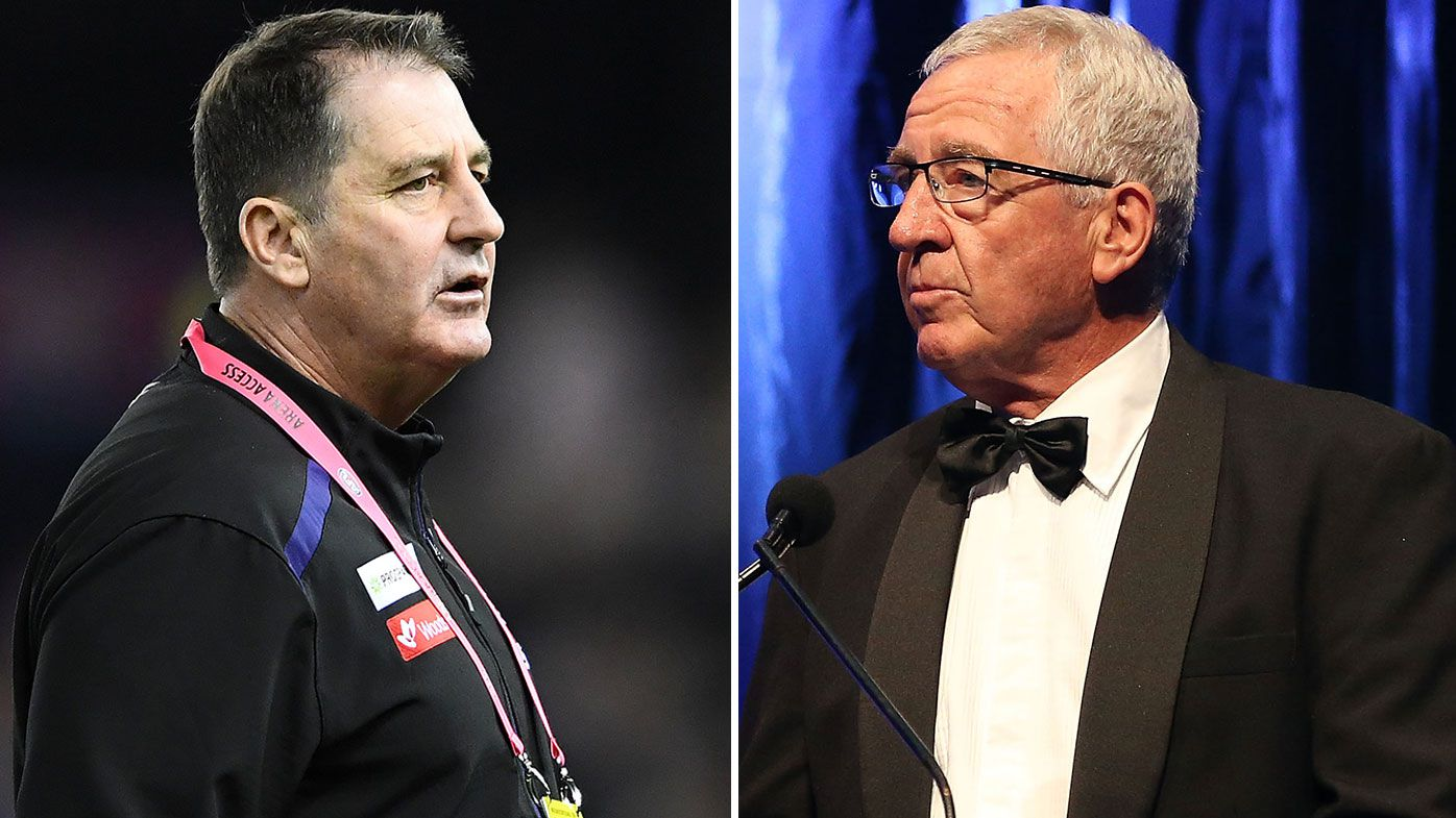 Ross Lyon and veteran AFL reporter Mike Sheahan in fiery exchange after 'bulls--t' claim
