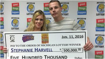 A US couple who won half a million dollars on a state lottery scratchie has been charged over a string of burglaries.