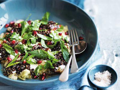 "Recipe:&nbsp;<a href=""https://kitchen.nine.com.au/2018/01/11/13/18/quinoa-smoked-eggplant-and-yoghurt-salad"" target=""_top"">Quinoa smoked eggplant and yogurt salad</a>"