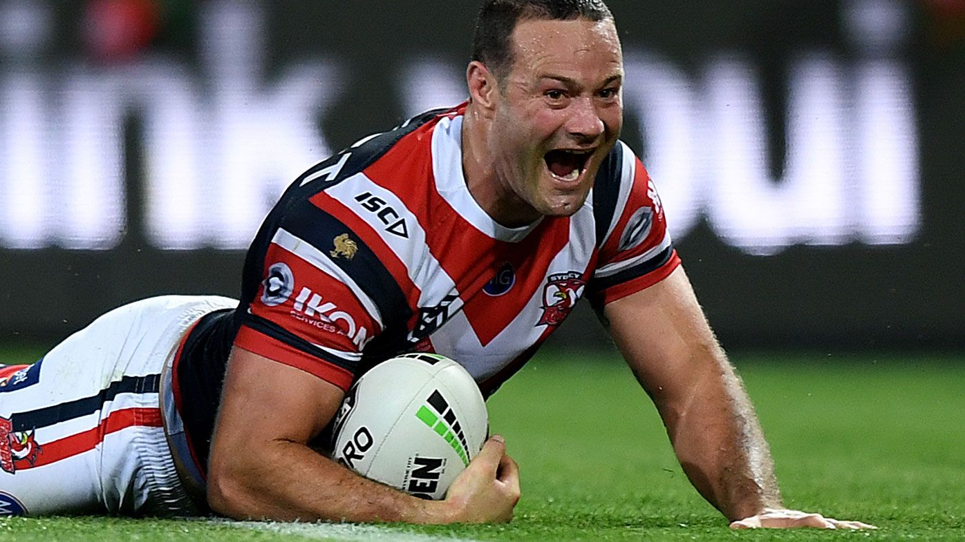 Boyd Cordner scores a try during the Roosters win over Souths.