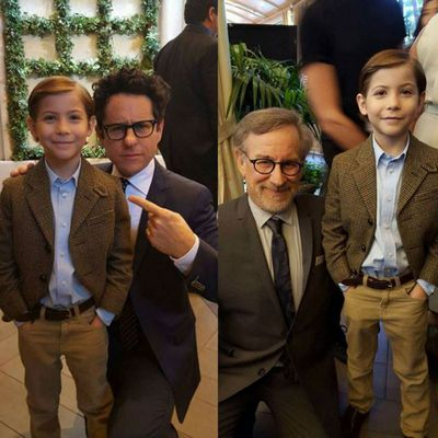 Jacob Tremblay meets his heroes JJ Abrams and Steven Spielberg