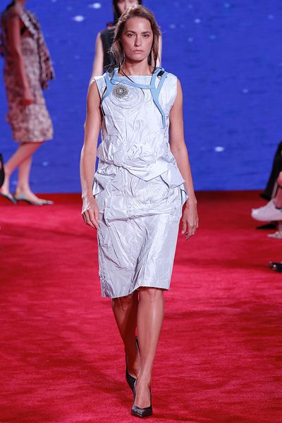 Yasmin Le Bon walks the runway atthe Calvin Klein Collection Ready to Wear Spring/Summer 2019 fashion show at NYFW18. Images: Getty