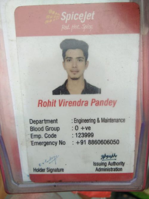 Rohit Virendra Pandey was killed when he became trapped in a plane door yesterday.