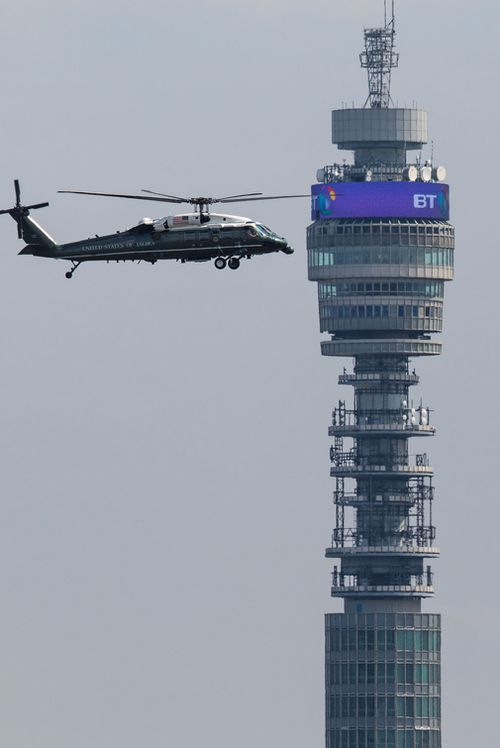The Marine One helicopter carrying US President Donald Trump and First Lady Melania Trump flies past the BT Tower before landing at Winfield House. Picture: Getty