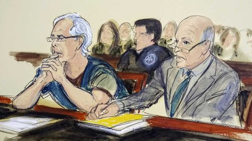 A courtroom sketch shows billionaire sex criminal Jeffrey Epstein in a New York court.