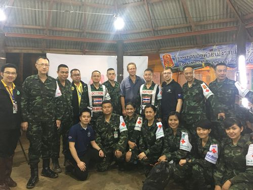 The medical team who worked in the rescue of 12 Thai boys who were stuck in an underground cave with their soccer coach.