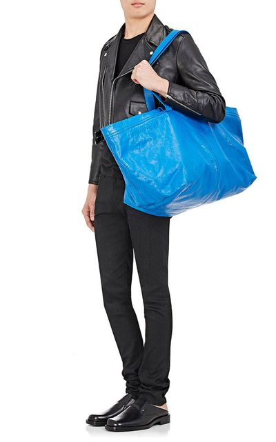 """<p>You could get yourself a $2 shopper tote from Ikea. Or you could get this.</p> <p><a href=""""https://www.barneys.com/product/balenciaga-arena-leather-extra-large-shopper-tote-bag-504889384.html"""" target=""""_blank"""">BalenciagaArena Leather Extra-Large Shopper Tote Bag</a>, $2,145</p>"""