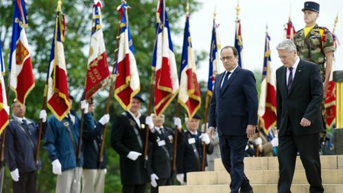 French, German leaders call for Gaza peace at WWI tribute