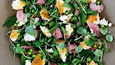 """Simple grills can lift a salad to new heights - try our<a href=""""http://kitchen.nine.com.au/2016/05/05/09/53/warm-grilled-lamb-pea-mint-and-feta-torn-herb-bread-salad"""" target=""""_top"""">Warm grilled lamb, pea, mint and feta torn herb bread salad</a>recipe"""