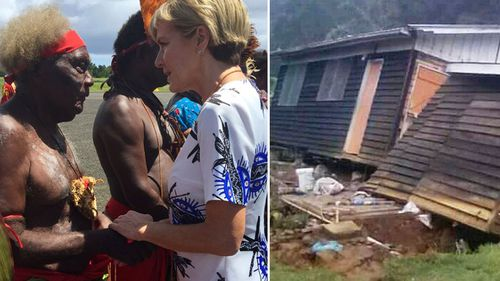 Foreign Minister Julie Bishop with New Ireland Province local (left) and a house that collapsed in a strong earthquake. (Instagram/Jerol Wepii via AP)