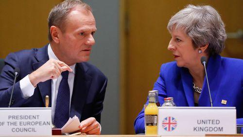 Theresa May and Donald Tusk.