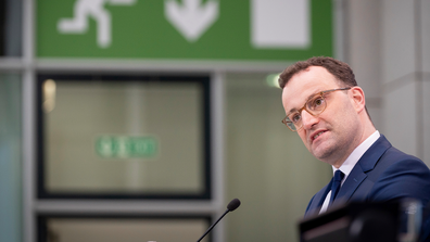Jens Spahn, Germany's Federal Minister of Health, announced the AstraZeneca vaccine would be suspended on Monday.  (Kay Nietfeld/dpa via AP)