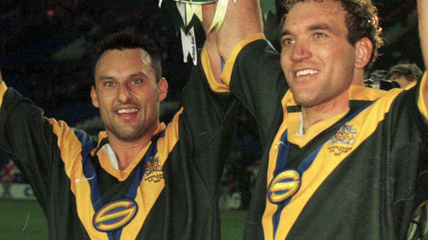 Laurie Daley and Gorden Tallis after a match for the Super League Australian team in 1997.