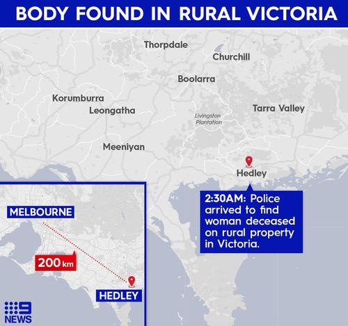 Map showing where police found woman's body.