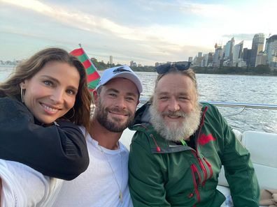 Russell Crowe, Chris Hemsworth, Elsa Pataky, Sydney harbour cruise