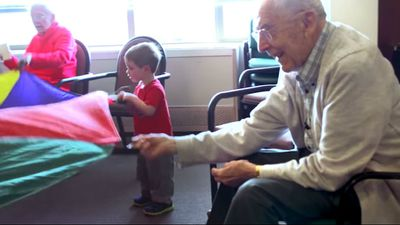 A new film has shown the heartwarming result after a US pre-school set up inside an aged care centre. Click through the gallery to see how society's youngest and oldest members help bring each other a new perspective. All photos are from the trailer for Present Perfect, by Evan Briggs.
