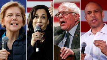 Elizabeth Warren, Kamala Harris, Bernie Sanders and Cory Booker