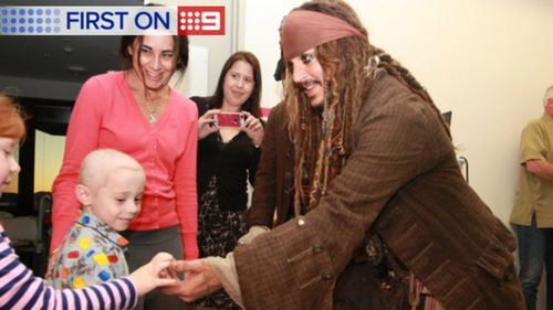 Depp visited sick kids in Lady Cilento Children's Hospital in Brisbane earlier this month. (Supplied)