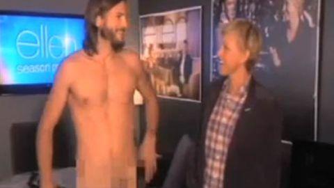 Ashton Kutcher gets naked for Ellen