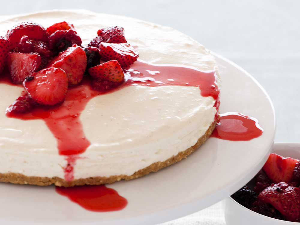 Vanilla cheesecake with vanilla-poached berries courtesy of Heilala Vanilla