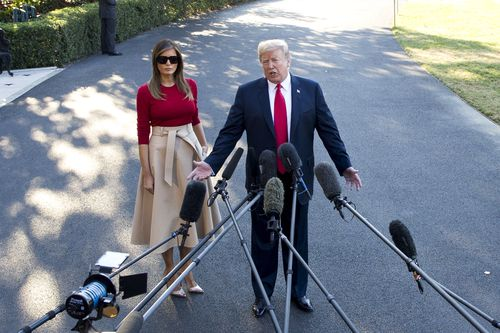Trump made some strange remarks about his trip before embarking on the flight to Europe. Picture: AAP