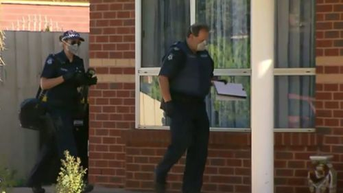 Police at the scene of the home invasion in Melbourne' north-west this morning. (9NEWS)