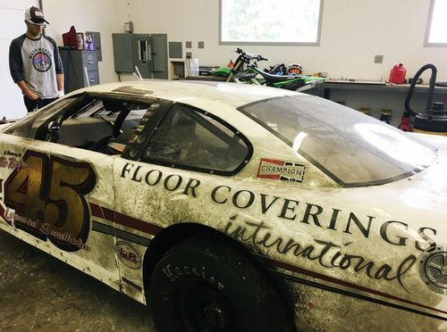 The shell of Tyler Tanner's destroyed race car. (Facebook/Tyler Tanner Motorsports)